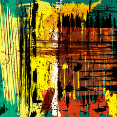 abstract background composition, with lines, paint strokes and splashes