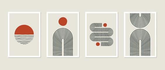 Obraz Trendy mid-century art, Scandinavian minimalist art. Abstract shapes collection rainbow, arc, sun decor. Minimal art background, print, cover, story, post, social media - fototapety do salonu