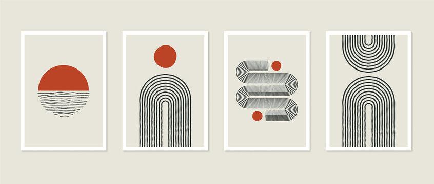 Trendy mid-century art, Scandinavian minimalist art. Abstract shapes collection rainbow, arc, sun decor. Minimal art background, print, cover, story, post, social media