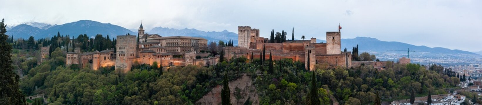 Panoramic view of the famous Alhambra palace at sunset, Granada, Spain