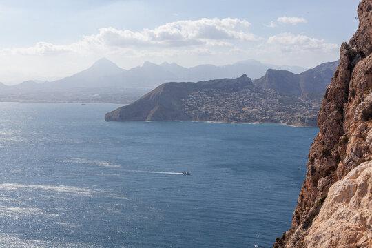 Aaerial view on the Mediterranean Sea from peak Penon de Ifach, Spain