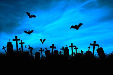 Halloween - cmentarz i nietoperze