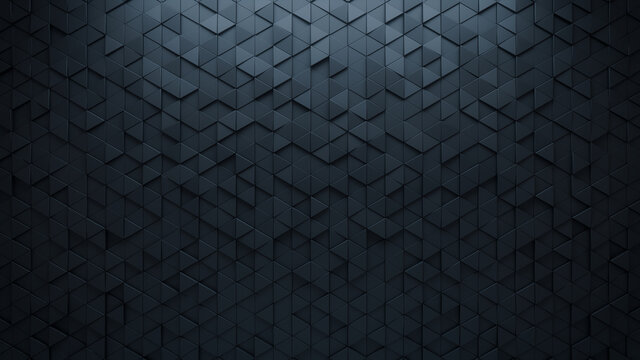 3D Tiles arranged to create a Triangular wall. Semigloss, Black Background formed from Futuristic blocks. 3D Render