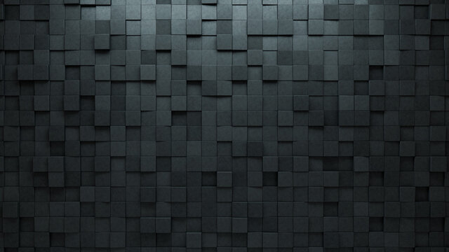 Concrete Tiles arranged to create a Semigloss wall. Square, Futuristic Background formed from 3D blocks. 3D Render