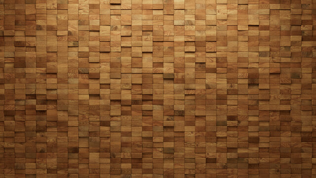 3D Tiles arranged to create a Soft sheen wall. Wood, Natural Background formed from Rectangular blocks. 3D Render