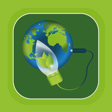 Symbol für saubere Energie: Stecker ist mit einer Glühbirne und der Erde verbunden. Vektor