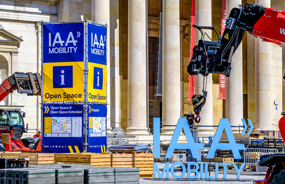 Munich, Germany - September 2: Construction of the IAA (Internationale Auto Ausstellung - translation: international auto exhibition) trade fair in Munich on September 2, 2021