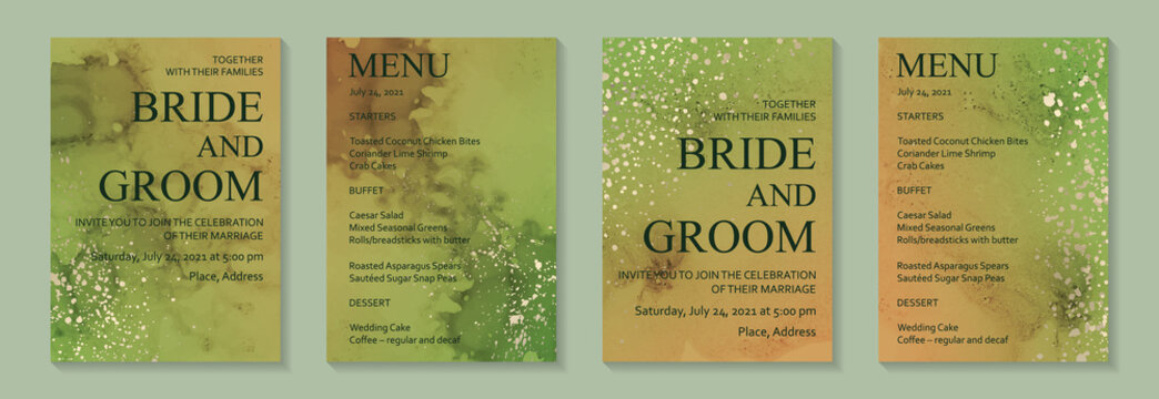 Modern watercolor background or elegant card design for birthday invite or wedding or menu with abstract green and red ink stains and golden splashes.