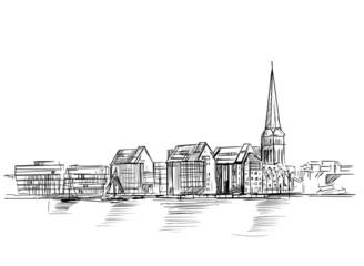 Widok na Rostock w Niemczech. Szkic odręczny wykonany przez artystę na jasnym tle
