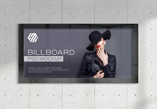 Panoramic Billboard Mockup on Subway Station Wall