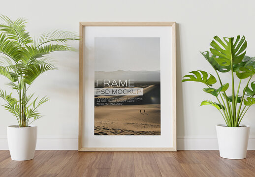 Wooden Frame Mockup Leaning on Wall