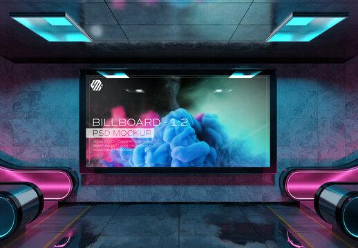 Panoramic Billboard Mockup in Futuristic Underground Station