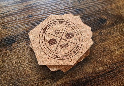 Coaster Printed Logo Mockup on Wooden Surface