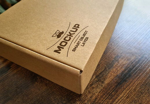 Carboard Box Mockup with Printed Logo