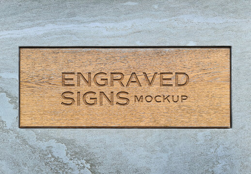 Sign Logo Mockup Engraved on Wooden Plate