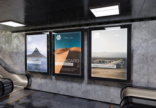Billboards Mockup on Underground Station Wall