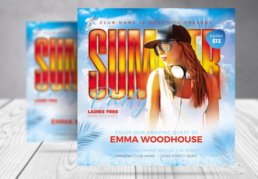 Summer Beach Party Flyer with Orange and Blue Accents