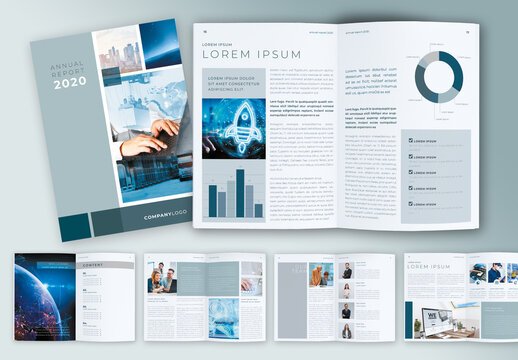 Multipurpose Grey and Blue Annual Report