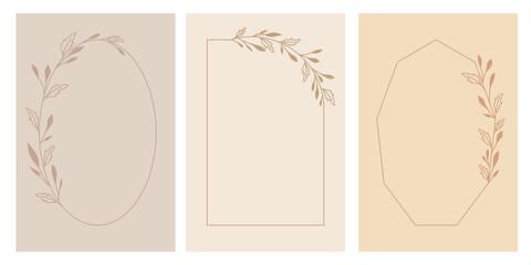 Zestaw ramek w prostym stylu w ciepłych odcieniach. Botaniczne wzory, listki, gałązki. Dekoracyjne elementy do wykorzystania na zaproszenia ślubne, karty, vouchery, ulotki, tło na blog, social media.