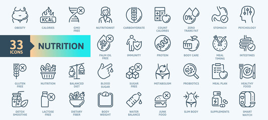 Web Set of Nutrition, Healthy food and Detox Diet Vector Icons. Contains such Icons as Metabolism, Caunt Calories, Palm oil free, Zero thans fat, Probiotics and more. Simple Outline icons collection.