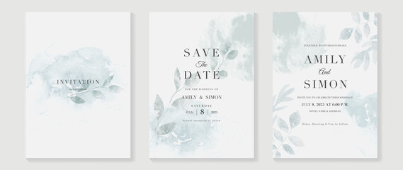 Obraz Green emerald and gold texture watercolor wedding invitation vector set. Luxury background and template layout design for invite card, luxury invitation card and cover template. - fototapety do salonu