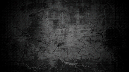 Obraz Dark gray cracks and wrinkled creases on old grainy paper in black watercolor background with marbled abstract painted vintage illustration - fototapety do salonu