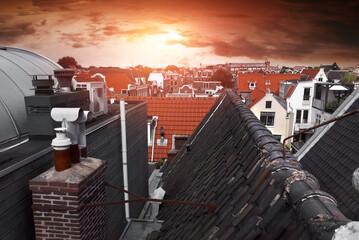 Fototapeta Dachy starego miasta w Amsterdamie obraz