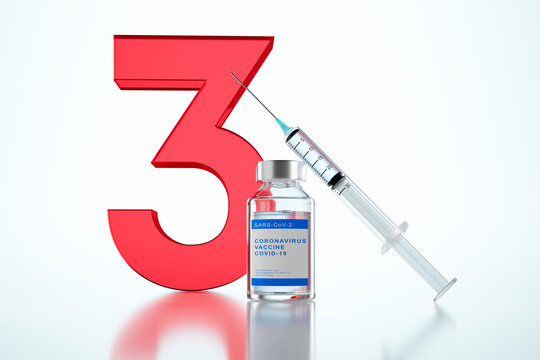3rd vaccination concept with syringe and bottles of vial with the number 3  - 3D illustration