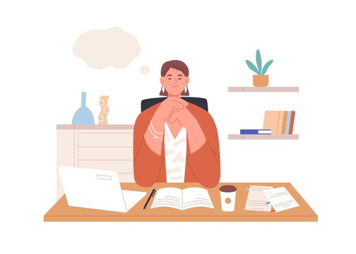 Happy relaxed person dreaming at work in office. Inspired creative employee resting and thinking, imagining smth in thought bubble and writing. Flat vector illustration isolated on white background