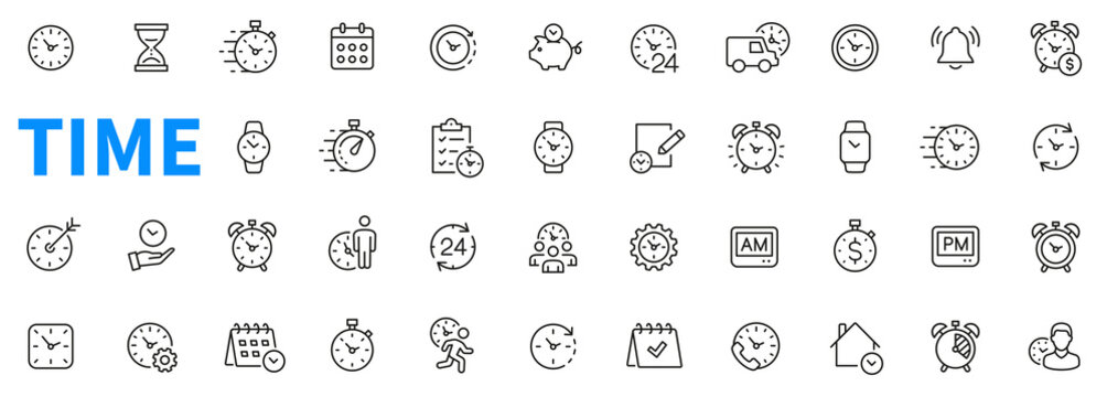 Time icons set. Contains such icons as clock, smart watch, fast shipping, wall clock, alarm, bell, person hour and more. Outline icons collection. Line style - stock vector.