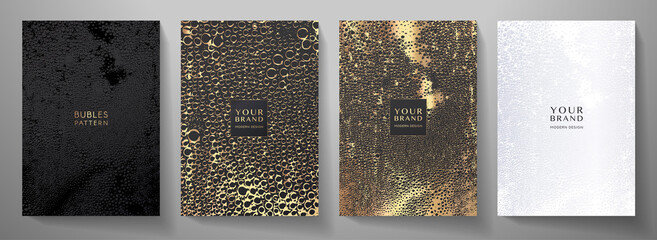 Modern cover design set. Luxury gold and black background with water droplets pattern (sparkling bubbles). Holiday vector template for drink menu, invite, brochure template, flyer