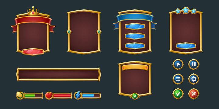 Set game frames and menu buttons cartoon interface. Empty borders with royal crown and banners, ui or gui design elements. Slider, red and green keys, user panel sliders, settings isolated vector set
