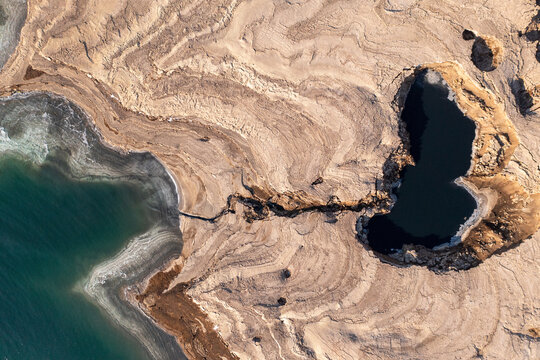 Sinkholes in The Dead Sea coastline, Aerial view.