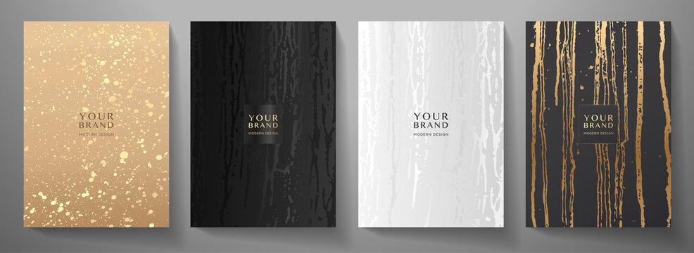 Contemporary cover design set. Creative art pattern with gold splash, smudge, paint drop (spot) on black background. Artistic vector collection for notebook, flyer template, grunge poster