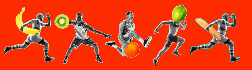 Collage. Fit young men running, jumping with French baguette and citrus fruits isolated on bright...