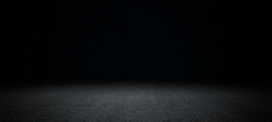 Obraz Black asphalt road and empty dark street scene background with studio room interior texture for display products wall background.. - fototapety do salonu