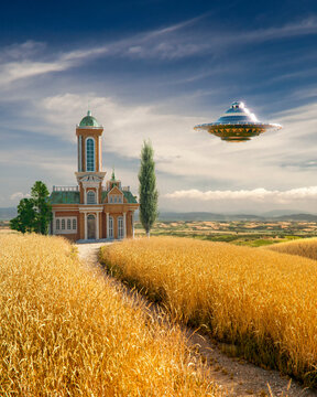 ufo flying over a field of wheat near a classic church in a Tuscan landscape in the summer sun - concept art - 3D rendering