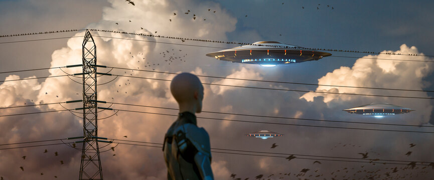 Alien watching ufo flying in gorgeous clouds through high voltage cables and birds - panoramic view - concept art - 3D rendering