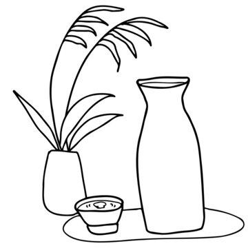 お月見の酒とススキの線画イラスト