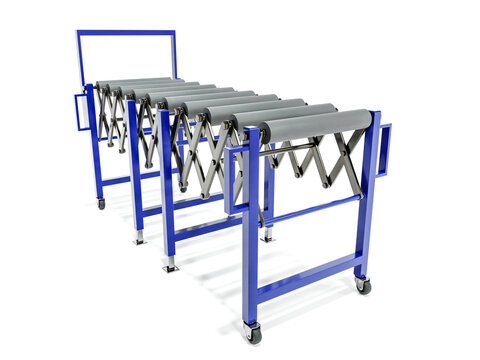 Expandable roller conveyor on white