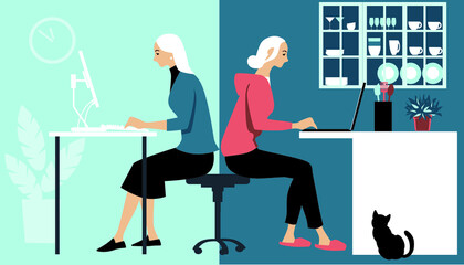 Fototapeta Woman in hybrid work place sharing her time between an office and working from home remotely, EPS 8 vector illustration obraz