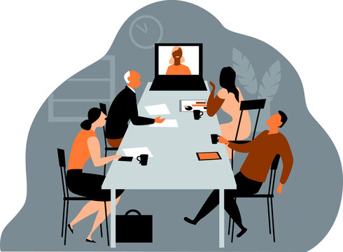 Hybrid workplace company holding a meeting where some employees participating via online video conference, EPS 8 vector illustration