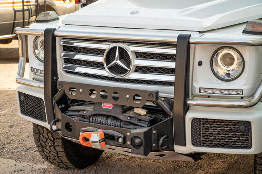 Loveland, CO, USA - August 29, 2021:  Grille of Mercedes-Bentz Class G SUV with  an upgraded front bumper and winch for off-road overlanding.