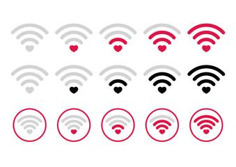 Piktogram wifi. Zestaw ikon sygnał wifi z serduszkiem. Siła sygnału wifi na białym tle. Światowy symbol komunikacji, zasięgu sieci.