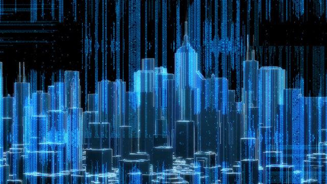 Cyber Data Technology City Buildings Skyline Matrix