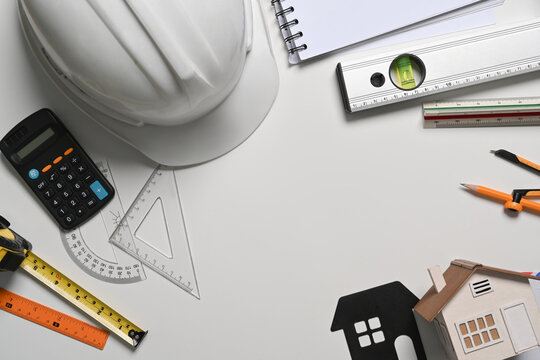 Architect, engineer tools on white background. Construction concept.