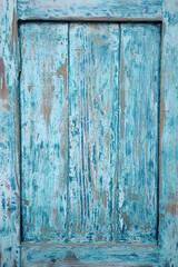 Obraz Wycinek ze starych drewnianych cyjanowych drzwi. - fototapety do salonu