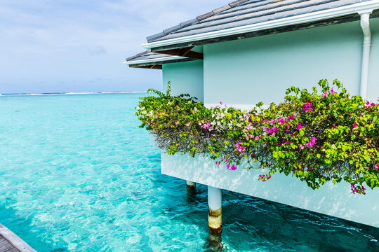 water bungalows in the Maldives