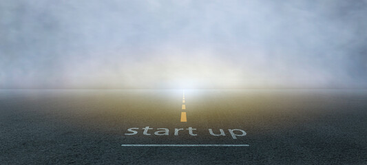 Obraz The startup, small business owner on the asphalt road, get ready on starting the highway concept for business planning. - fototapety do salonu
