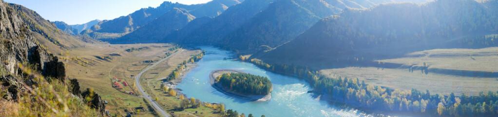 Obraz Autumn panoramic view of the turquoise Katun river and Altai mountains. Che-Chkysh, Altai Republic, Russia. - fototapety do salonu